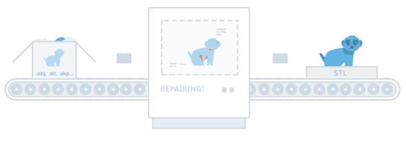Model vjednom zběžných formátů po přihlášení do služby 3DPrintCloud jednoduše nahrajete do cloudového úložiště, kde je analyzován – a po opravě si jej opět stáhnete (zdroj: 3DPrintCloud)