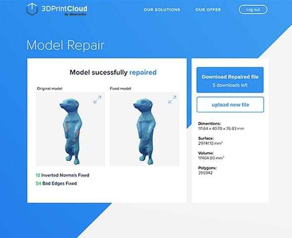 Prvním z uvolněných nástrojů je oprava modelu, další se již připravují (zdroj: 3DPrintCloud)