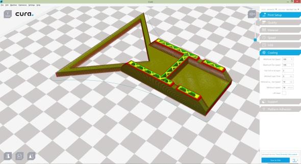 Názorné zobrazení vrstev modelu připravovaného pro 3D tisk v aplikaci Cura 15.06