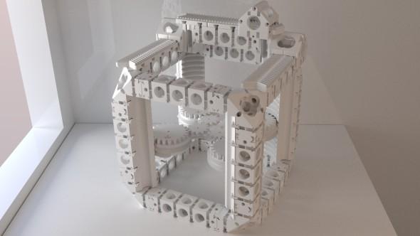 Snahou autorů reprapových zařízení je vytisknout na 3D tiskárně co nejvíc dílů pro složení další, identické sestavy. Na obrázku ukázka modulárního rámu a pojezdů projektu Dollo (zdroj: Instructables)