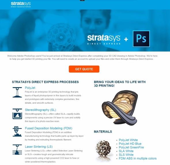 Služba Stratasys Direct Express zjednodušuje tisk z aplikace Adobe Photoshop CC