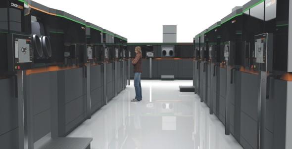 Koncept plně automatizované továrny pro aditivní výrobu od společnosti Concept Laser zatím sice existuje jen ve vizualizacích, ale promyšlen je do nejmenších detailů