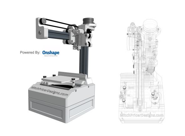 Hezkou ukázkou funkční sestavy připravené v řešení OnShape je malá reprapová tiskárna Mitche Pricera (zdroj: mitchpricerdesigns.com)