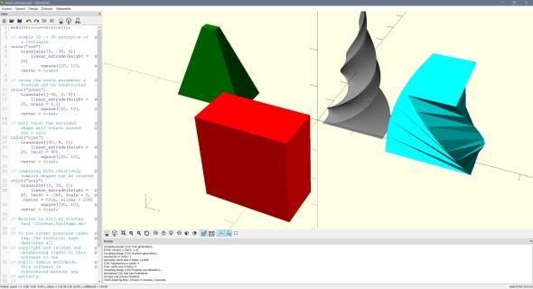 OpenSCAD je CAD aplikací pro programátory; modely vznikají až na základě matematického popisu (obr.: OpenSCAD)