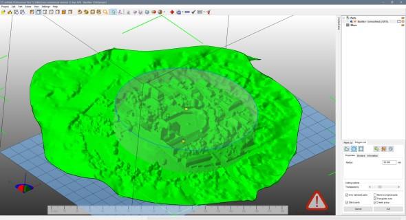 Například u vlastního povrchového reliéfu připraveného v aplikaci Autodesk Memento jsme využili vygenerovaného válce k ořezu okrajů