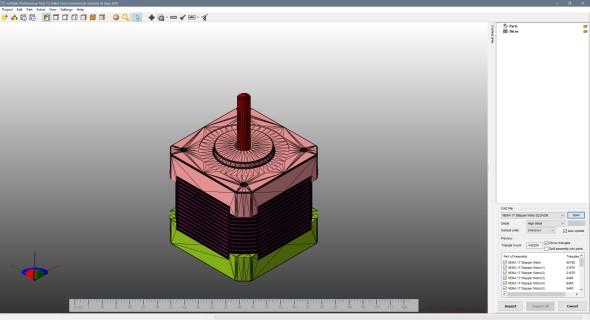 Netfabb umožňuje načíst model přímo z nativního formátu 3D CAD systému, zde ze SolidWorksu (model: NEMA 17 Stepper Motor, autor: Hendricks)