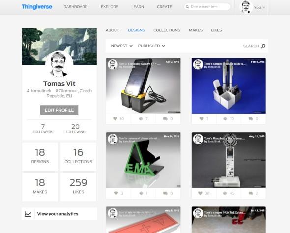 Na portálu Thingiverse můžete snadno sdílet a spravovat své modely pro 3D tisk a umožnit tak jejich využití i dalším uživatelům zcelého světa pod otevřenou licencí