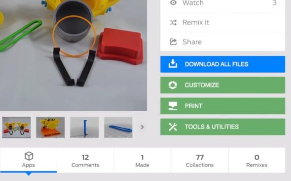 Nové aplikace na Thingiverse budou dostupné přímo na stránce s modelem k 3D tisku