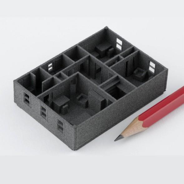 Ukázka přesnosti modelu vyrobeného na stavebnici z polymerového prášku spékaného laserem (foto: Sintratec)