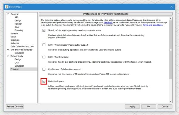 Po instalaci červencové aktualizace, která všem registrovaným uživatelům dorazí automaticky a nainstaluje se po dalším spuštění aplikace, je třeba nejprve povolit nové rozhraní Mesh Workspace vnastaveních. Je stále ve fázi veřejného testování