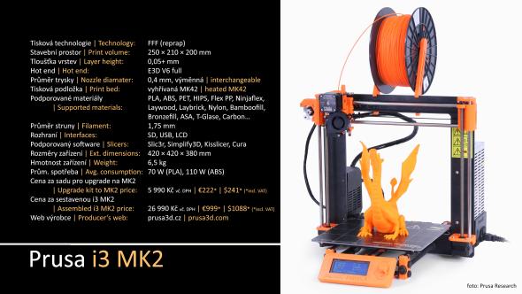 Parametry sestavené 3D tiskárny