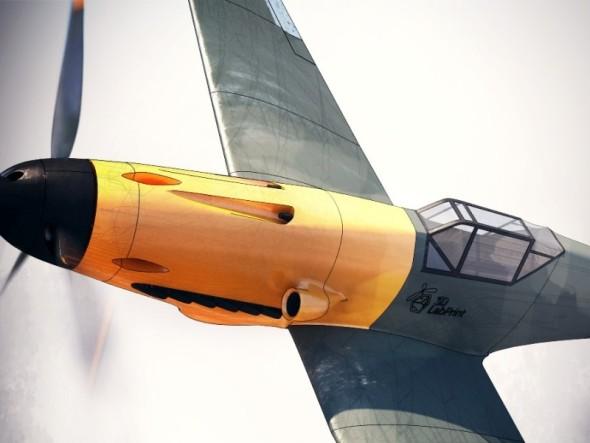 Messerschmitt Bf 109 vyniká charakteristickou barevnou přídí i tvarem zasklení pilotovy kabiny (obr.: 3DLabPrint)