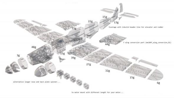 Jednotlivé části letounu lze vytisknout na běžné stolní 3D tiskárně a spojit lepidlem (obr.: 3DLabPrint)