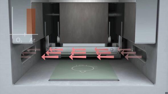 Argon proudí po celou dobu tavení prostorem stavební komory tiskárny Renishaw AM 400. Filtrační soustava zachycuje nečistoty (foto: Marek Pagáč)