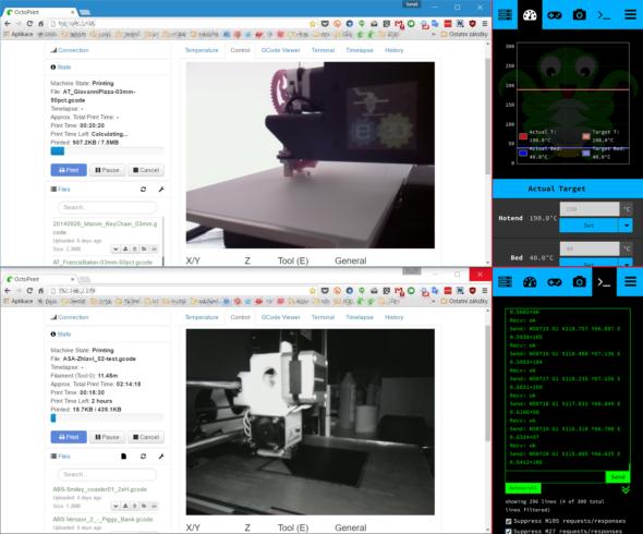 Tiskárny můžete díky prostředí OctoPrint pohodlně ovládat na dálku z webového prohlížeče na počítači (vlevo) či z mobilních zařízení díky upravenému dotykovému rozhraní TouchUI (vpravo)