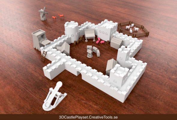 Modulární hrad, včetně zvířat, vojáčků, dobývacích zbraní a dalšího vybavení, si můžete stáhnout zdarma z portálu Thingiverse.
