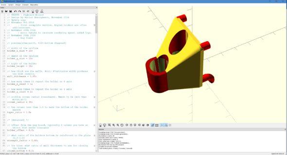 Hlavním pracovním prostorem v OpenSCADu není virtuální zobrazení výsledného 3D modelu, ale editor skriptu sparametry vlevé části